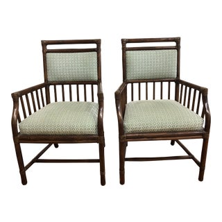 Pair of McGuire Bamboo + Fabric Arm Chairs For Sale