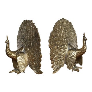 Hollywood Regency Brass Peacock Bookends - A Pair For Sale