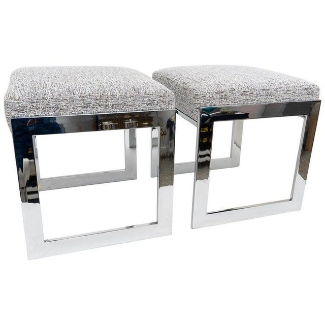 Milo Baughman Mid-Century Flat-Bar Nickel Plated Benches - a Pair For Sale - Image 11 of 11