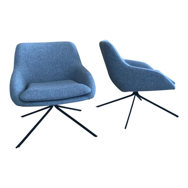 Palau Blue Swivel Chairs - A Pair - Image 1 of 8
