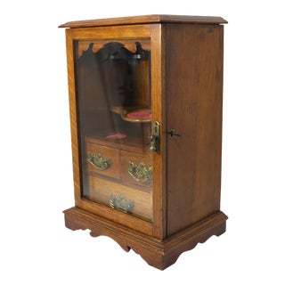 Antique English Oak Tobacco Humidor & Pipe Cabinet For Sale