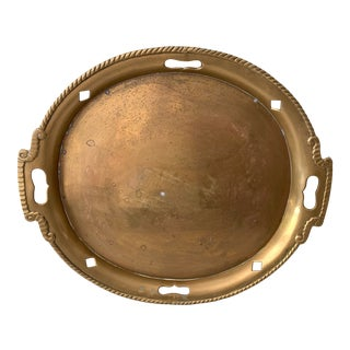 Vintage Oval Brass Large Tray, India For Sale