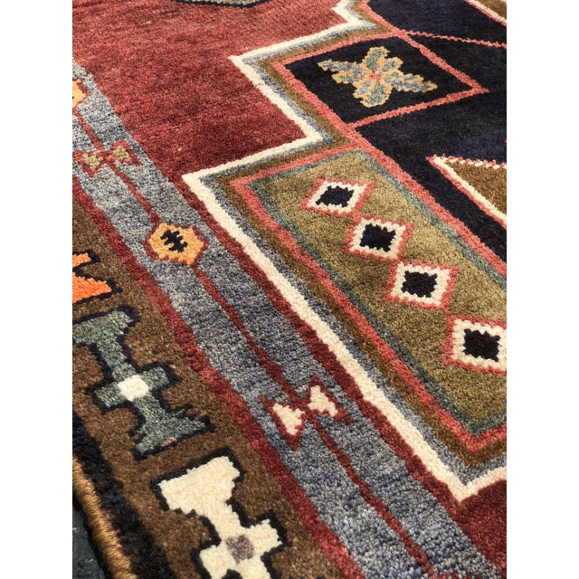 "Textile 1950s Art Deco Persian Meshkin Wool Runner - 3'8""x11'7"" For Sale - Image 7 of 13"