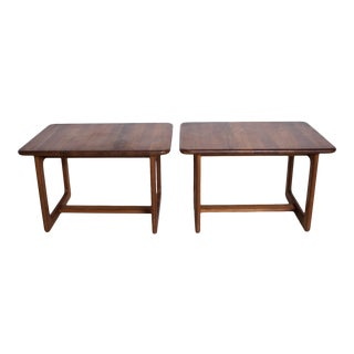 1980s Scandinavian Solid Teak Wood Side Tables - a Pair For Sale