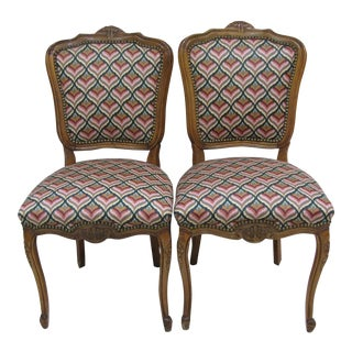 Vintage French Style Carved Side Chairs - A Pair