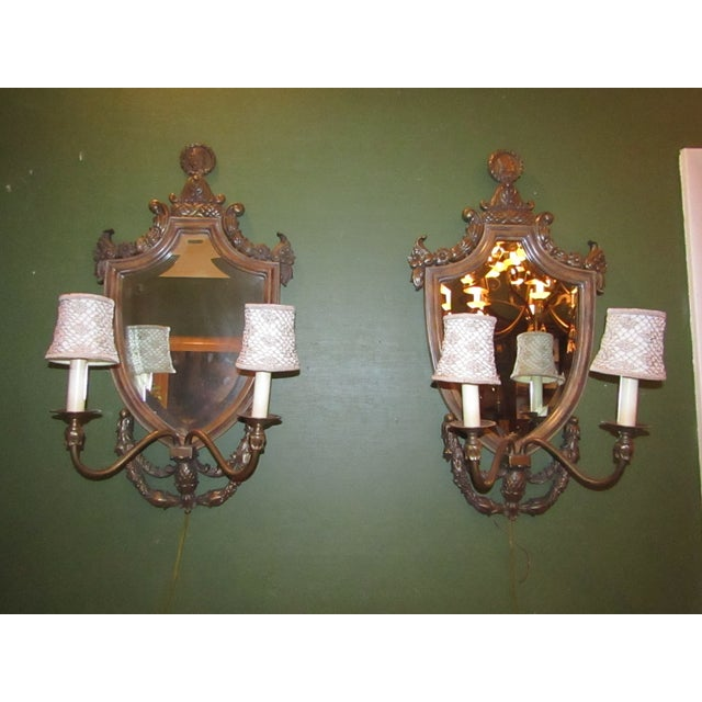 Vintage Mirror Back Wall Sconces - A Pair - Image 2 of 6