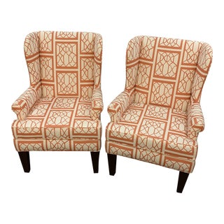 Vintage / Modern Wingback Chairs - Pair For Sale