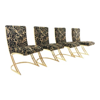 C. 1970's Pierre Cardin Z Brass Cantilever Tiger Chairs - Set of 4