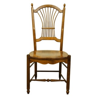 20th Century Traditional Nichols & Stone Solid Cherry Wheat/Sheaf Back Dining/Side Chair For Sale