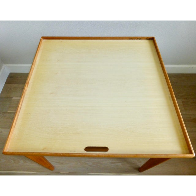 Mid Century Danish Modern Brdr Furbo Denmark Square Teak Game Table For Sale In Denver - Image 6 of 12