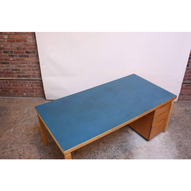 Alvar Aalto Birch Dining or Writing Table with Blue Top and Cabinet - Image 7 of 11