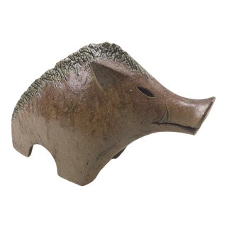 1990s Ceramic Boar Sculpture Signed With Chop Mark Year of the Pig For Sale