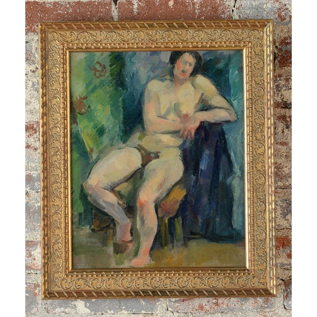 """French Fauvist school """"Sitting Nude"""" Oil painting - signed size 17 x 21"""" A beautiful piece that will add to your décor!"""