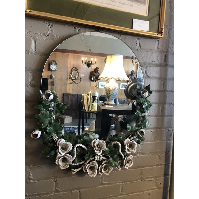 Green Vintage 1940s Round Hollywood Regency Tole Wall Mirror For Sale - Image 8 of 10