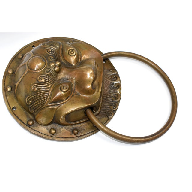 Late 20th Century Late 20th Century Beast Motif Brass Knockers- a Pair For Sale - Image 5 of 13