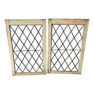 1920s Antique Upstate New York Leaded Glass Windows- a Pair For Sale