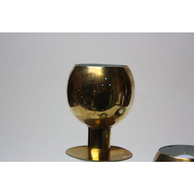 American Modern Brass Three-Fixture Table Lamp For Sale - Image 5 of 9