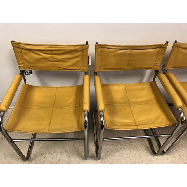 Bauhaus Mustard Leather Arm Chairs - Set of 4 - Image 4 of 7