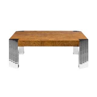 Milo Baughman Burlwood Coffee Table For Sale