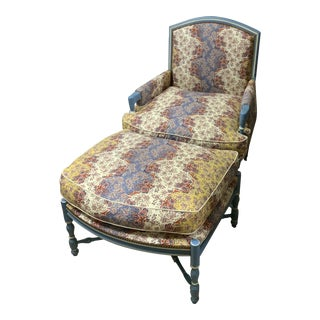 Late 20th Century French Country Chair & Ottoman For Sale