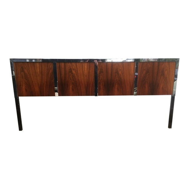 Harvey Probber Rosewood & Chrome King Size Headboard - Image 1 of 6