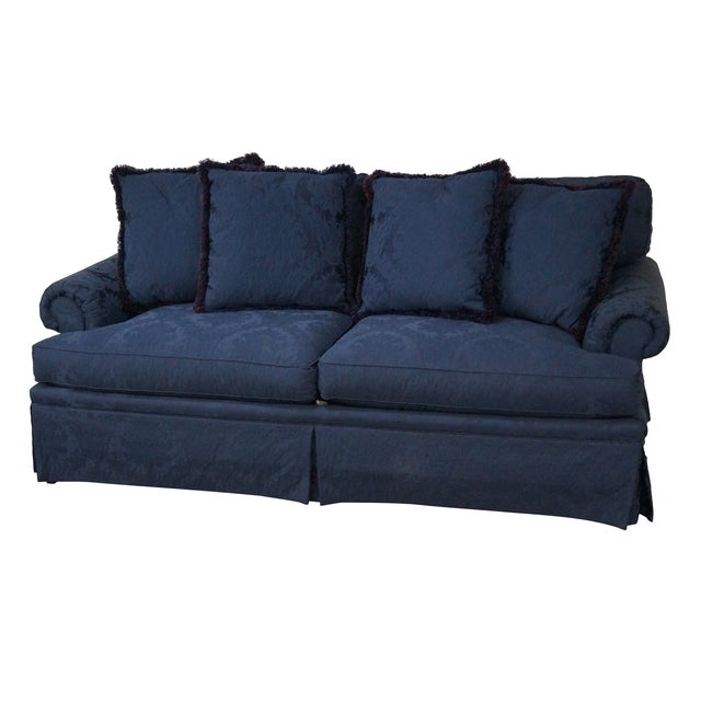 Blue Damask Traditional Upholstered Councill Sofa - Image 1 of 10
