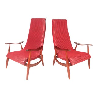 Mid-Century Modern High Back Walnut Lounge Chairs - A Pair