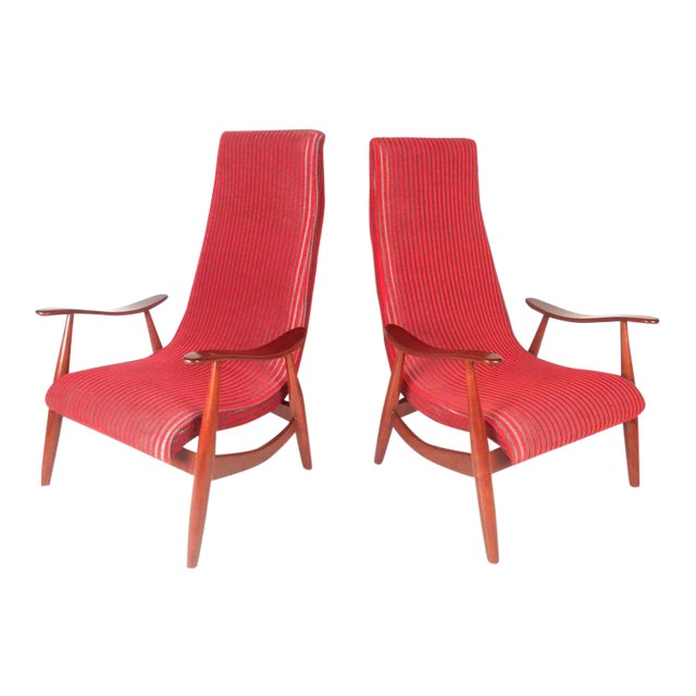 Mid-Century Modern High Back Walnut Lounge Chairs - A Pair For Sale