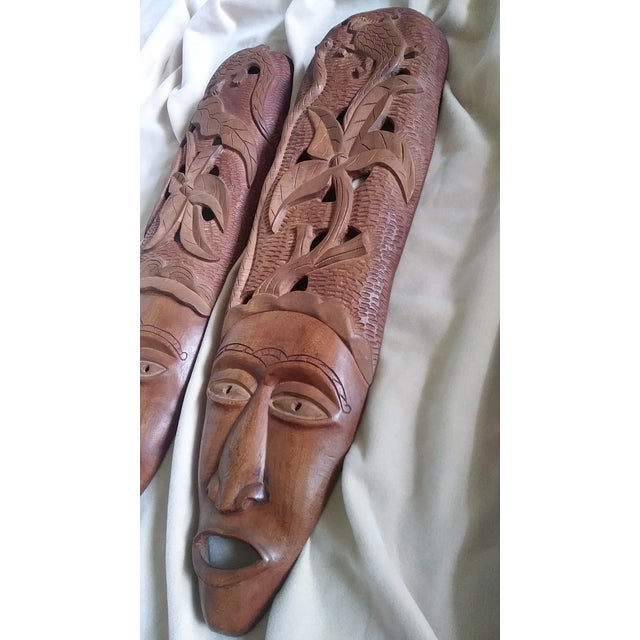 Haitian Hand Carved Wooden Masks Wall Art A Pair