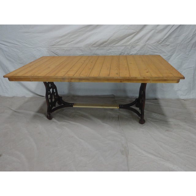 Antique Swedish Iron Base Dining Table For Sale - Image 4 of 6