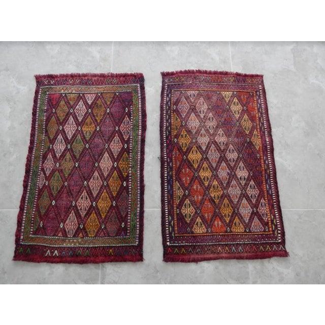 Pair Handwoven Turkish Kilim Rug Pastel Colors Area Rug Petite Braided Kilim - 1′8″ × 2′9″ For Sale - Image 9 of 9