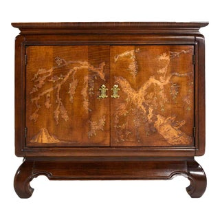 1970s Chinoiserie Carved Relief Two Door Chest For Sale