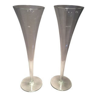 Mid-Century Modern Decagon Champagne Flutes - A Pair For Sale
