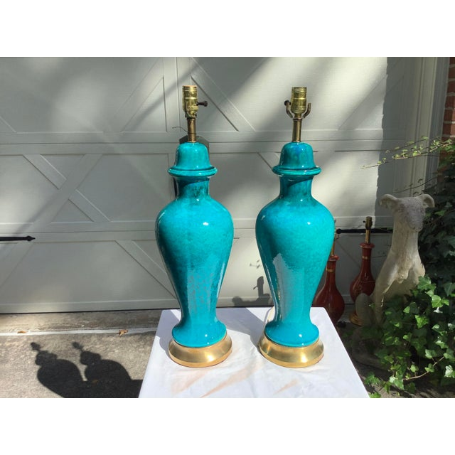 Italian Mid-Century Modern Blue Lamps, a Pair For Sale - Image 4 of 13