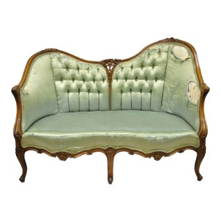 Antique French Louis XV Carved Walnut Double Hump Back Settee Loveseat For Sale