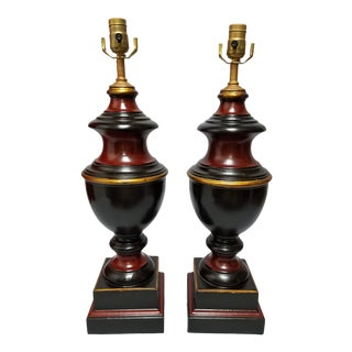 20th Century Traditional Black & Oxblood Turned Finial Lamps - a Pair For Sale