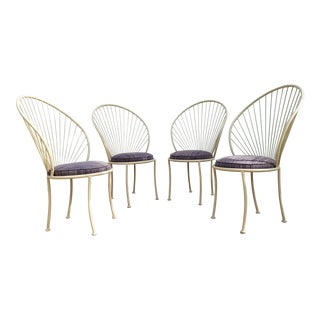 Vintage Height Peacock Back Dining Chairs - Set of 4