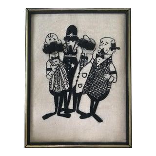 """Framed """"Barbershop Quartet"""" Embroidered Art"""