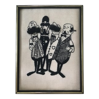 "Framed ""Barbershop Quartet"" Embroidery Art For Sale"