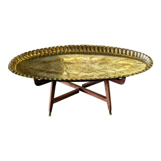 1960s Moroccan Brass Tea Table For Sale