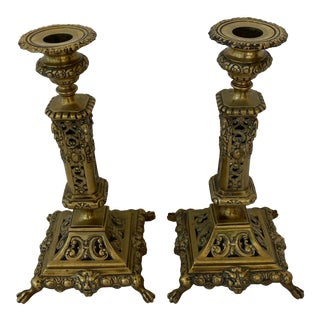 Antique French Heavy Brass Ornate Figural Candle Holders - a Pair For Sale