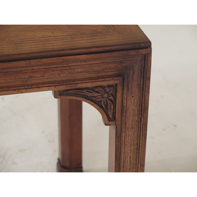 1980s 1980s Chippendale Henredon Oak & Walnut End Table For Sale - Image 5 of 8