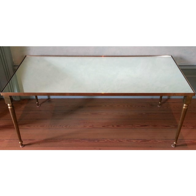 Hollywood Regency 1960's Pair of Jansen Brass Coffee Tables For Sale - Image 3 of 10