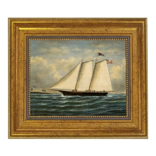 America First Winner America Cup Framed Oil Painting Print on Canvas in Antiqued Gold Frame For Sale