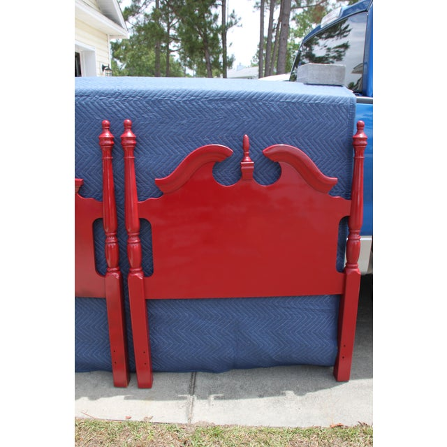 Broyhill Hollywood Regency Georgian Gloss Red Twin Headboards - a Pair For Sale - Image 4 of 7