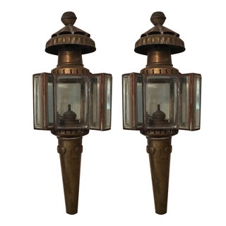 Vintage Carriage Oil Lamps - Pair For Sale