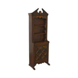 Colonial Revival Style 1930s Oak & Walnut Pewter Cupboard