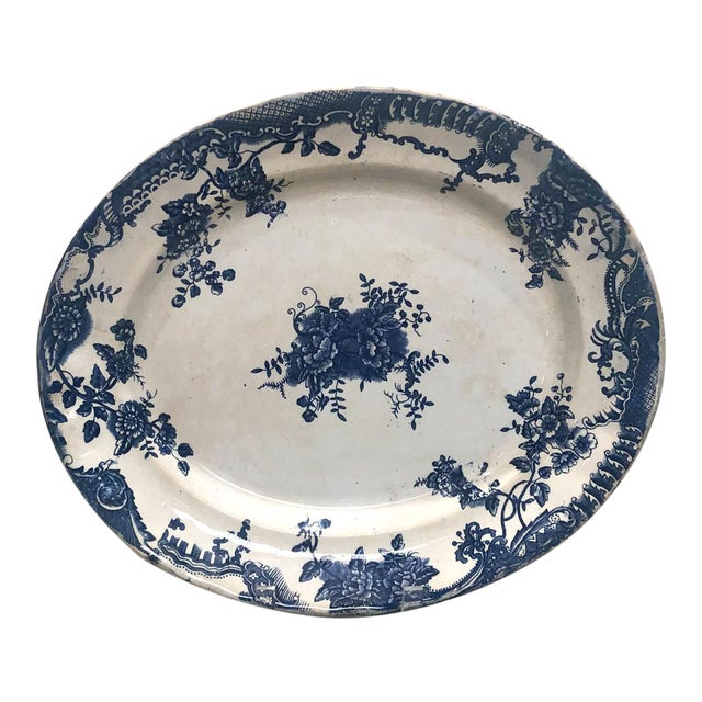 Staffordshire Victorian Blue and White Platter, England Circa 1870 For Sale