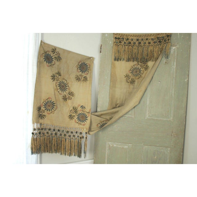 Antique Silk Scarf Metallic Embroidered Ottoman Runner Textile For Sale - Image 9 of 9