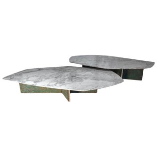 Contemporary Geometrik Coffee Table Set, Oxidized Brass and Marble B - 2 Pieces For Sale